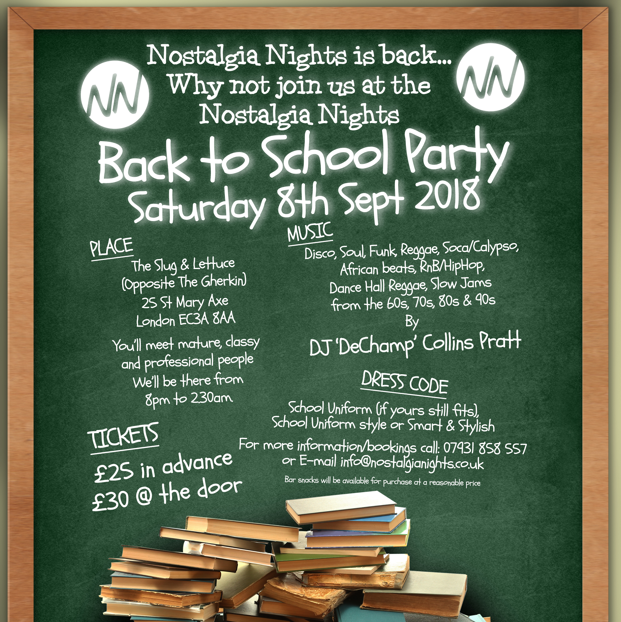 Back To School Party Saturday 8th September 2018