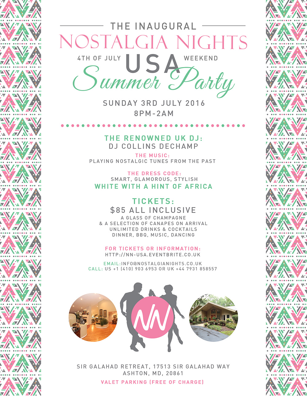 Nostalgia Nights Inaugural USA Summer Party 4th July 2016