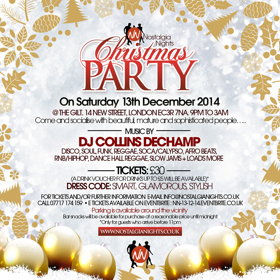 Nostalgia Nights Xmas Party 13th December 2014
